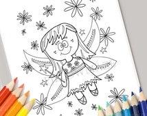 Fairy coloring page, kids coloring page, kids coloring book, fairies, girls coloring page, diy, drawing, color me, printable, digital stamp