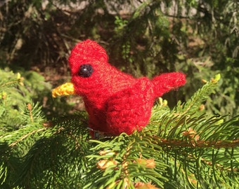 Knitted cardinal clip on ornament