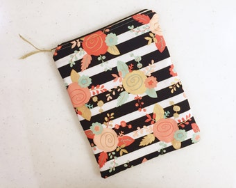 Black & White Stripes and Floral iPad, Tablet Case, Tablet Sleeve