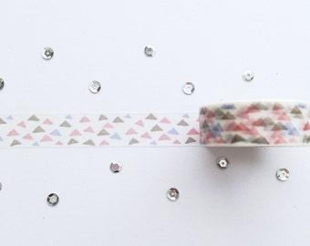 WashiTape, Triangle Pastel, Washi, Large, 1,5cm breed, 10meter lang