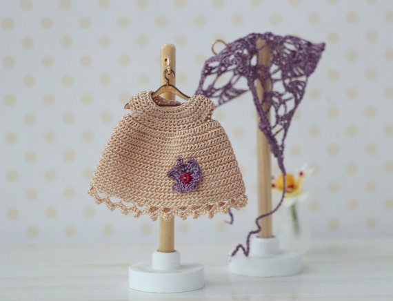 Crochet Mini Doll Clothes : Dolls clothes. Doll Dress miniature crocheted beige for