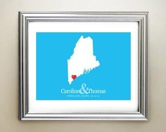 Maine Custom Horizontal Heart Map Art - Personalized names, wedding gift, engagement, anniversary date