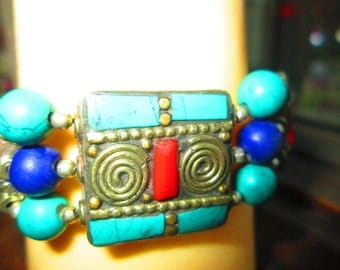 Handcrafted Unique Turquoise w/Genuine Red Coral & Laps Lazuli 925 Sterling Silver Bracelet 7-9 Inches Long, Wt. 37.2 Grams