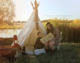 Tee Pee!  Photography Back drop made-to-order of a durable natural-tone canvas & rustic wood. As seen on Hostess with the Mostess!