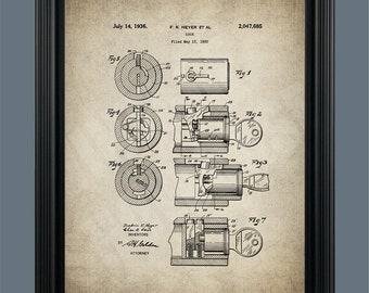Tumbler Lock Patent Print - Locksmith Gift - Locksmith Art - Lock and Key Design - Lock and Key Art- #090