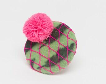 fascinator, Hat, green, pink, neon, pom pom, Wedding, Bride, Bridal, Bridesmaid, Vintage, Ascot, Races, Goodwood, Wool,
