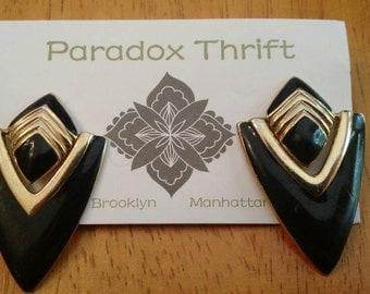 1980s black and gold post earrings