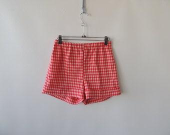 vintage 70's women's short shorts 80's short shorts 50's style shorts cuff shorts red gingham shorts elastic waist