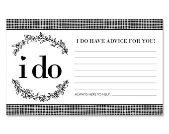 I Do Bridal Shower Advice Cards - 18 Helpful Hints Cards for a Wedding