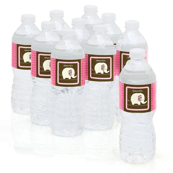 Pink Elephant Water Bottle Sticker Labels Personalized