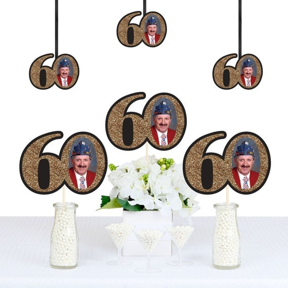 Adult 60th Birthday - Gold - DIY Photo Birthday Decorations Party ...