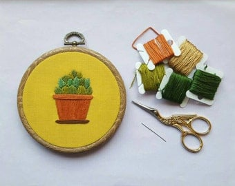 Potted Fern Embroidery Hoop