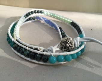 Leather Beaded Wrap Bracelet