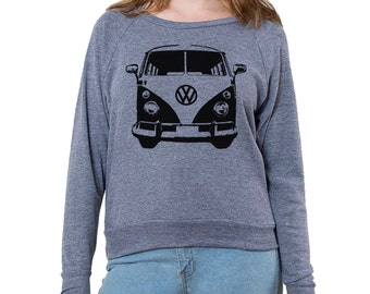 VW Micro Bus Front Graphic Graphic Printed on Women's American Apparel long sleeve pullover