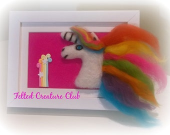 Needle felted Unicorn in a frame