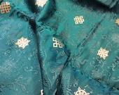 Turquoise Silk Brocade fabric,