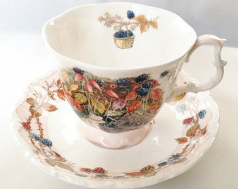 Autumn Brambly Hedge tea cup and saucer - full size - 1983 - Royal Doulton - Fall tea cup