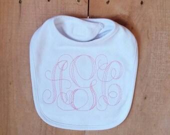 White Baby Bib with Pink Floss Monogram