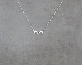 Glasses Spectacles Silver 925 Necklace Jewelry in Gift Box Trendy Hipster Style Seeing Impaired Jewelry