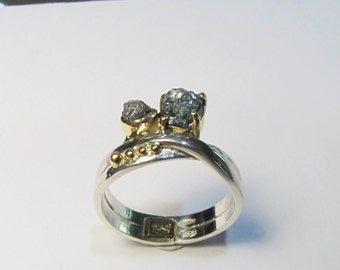 Rough blue and white diamond ring in sterling silver and gold