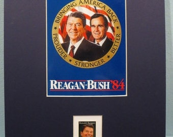 Ronald Reagan and George Bush win  the 1984 Presidential Election & First day Cover of the Ronald Reagan stamp