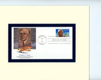 Airplanes and Aviation - William Piper develops The Piper Cub Airplane and First Day Cover of his own stamp