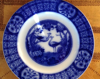 Vintage Flow Blue Plate - Johnson Brothers - Mongolia Pattern - Side Plate - Bread and Butter Plate