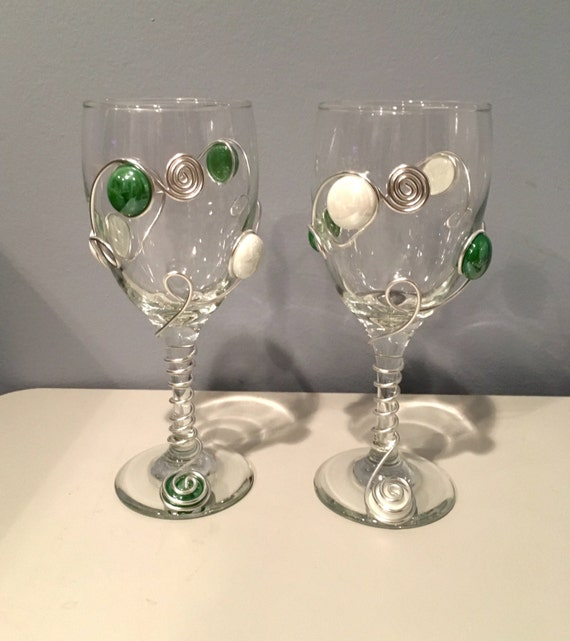 Sport Themed Wine Glasses-Set of 2, Detroit Tigers, Univ. of Michigan, Michigan State, Beaded Wine Glass, Wedding Colors, College Football
