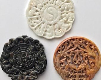 Carved, Stone, Medallion, Pendant, Zen, Chinese Zodiac, Yin Yang, Dragon, Black, White, Brown