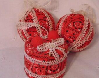 Cowboy Bandana ,Cowboy Christmas Ornament, Handmade Drum, Christmas Balls, Fabric Ornament