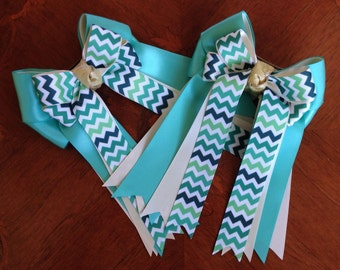 Hair Bows for Horse Shows/Green Turquoise Teal Chevron