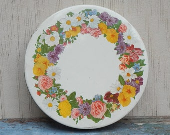 Vintage Olive Can Tin With Floral Motif!