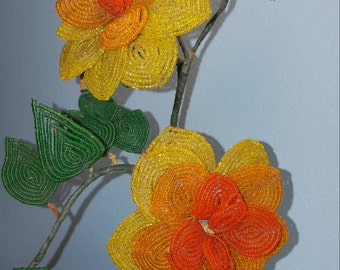 Vintage French Beaded Flower Stem Red Orange Yellow