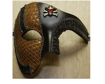 Black Steam Punk Cowboy Vintage Costume Masquerade Mask Leather Finish Halloween Phantom of the Opera Style Cosplay SPM013