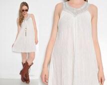 vintage 70s dress silver crochet white metallic gauze grecian goddess hippie wedding dress boho tent midi dress 1970s clothing XS S