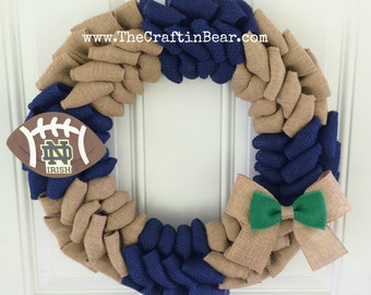 University of Notre Dame burlap wreath - Notre Dame wreath - Notre Dame burlap wreath - Fighting Irish wreath - University of Notre Dame