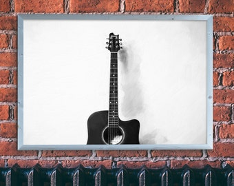 Original Oil Painting on Canvas, Hand Painted, Guitar, Black and White, Minimalism, Wall Art, Home Decor, Modern Art, Fine Art