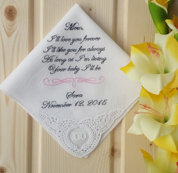 Personalised Wedding Gifts Quick Delivery : Fast Shipping!!! Personalized Wedding Handkerchief for the Mother of ...