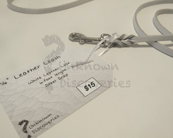 Skinny Braided White Leather Dog Leash - Small Dog - Small Pet
