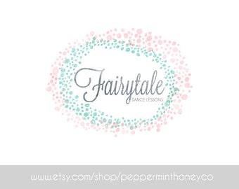 FAIRYTALE GLITTER LOGO Glitz Wonderland Pink Teal Pastel Whimsy Design Photographer Small business Boutique Blog Brand Girly Feminine