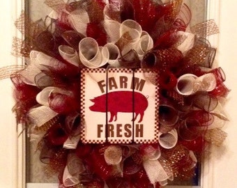 "20"" burgundy/brown/cream ""Farm Fresh"" deco mesh curly wreath with 7"" wood plaque"