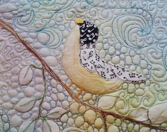 Fiber Art Quilt, Published Artist, Sun Dyed Fabric, Bird on a Branch, Original Design