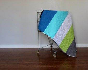 Multi color jumbo striped baby & toddler quilt