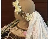 White floral Crown. Swarovski floral crown. Rustic Flower crown. Dried flower crown. boho Wedding crown wedding crown. Maternity crown.