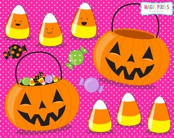 Halloween Clip Art | Halloween Candy | Candy Corn | Pumpkin Candy Buckets | 11 PNG Images | Commercial Use | Instant Download