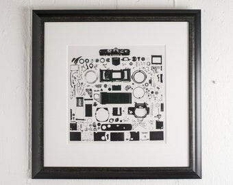 Olympus OM2 Exploded View Fine Art Print - Camera Art Industrial Tech Interior Design Print