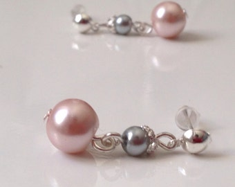 Dressed earrings Pearly beads, pink powder and iridescent gray