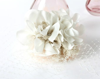 Ivory & Gold Birdcage Veil - bridal accessory / handmade fabric flowers / vintage bride