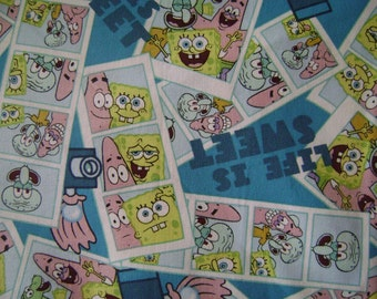 Spongebob Life is Sweet Cotton Fabric Sold by the Yard