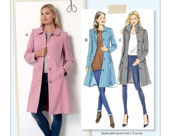 Butterick Pattern B6385 Misses' Funnel-Neck, Peter Pan or Pointed Collar Coats